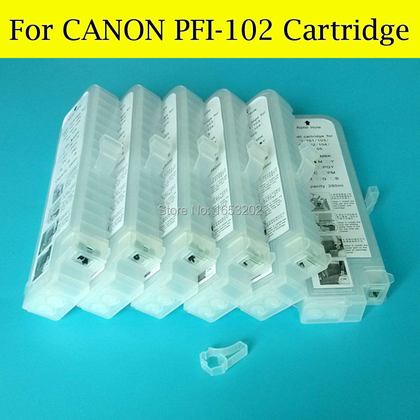 280ML Empty 6 PCS PFI102 Refillable Ink Cartridge For Canon PFI-102 iPF600 iPF700 iPF610 iPF605 iPF710 iPF720 LP17 Printer pfi 102 130ml 5 pack compatible ink cartridge for imageprograf ipf605 ipf610 ipf700 ipf710 ipf720 printers