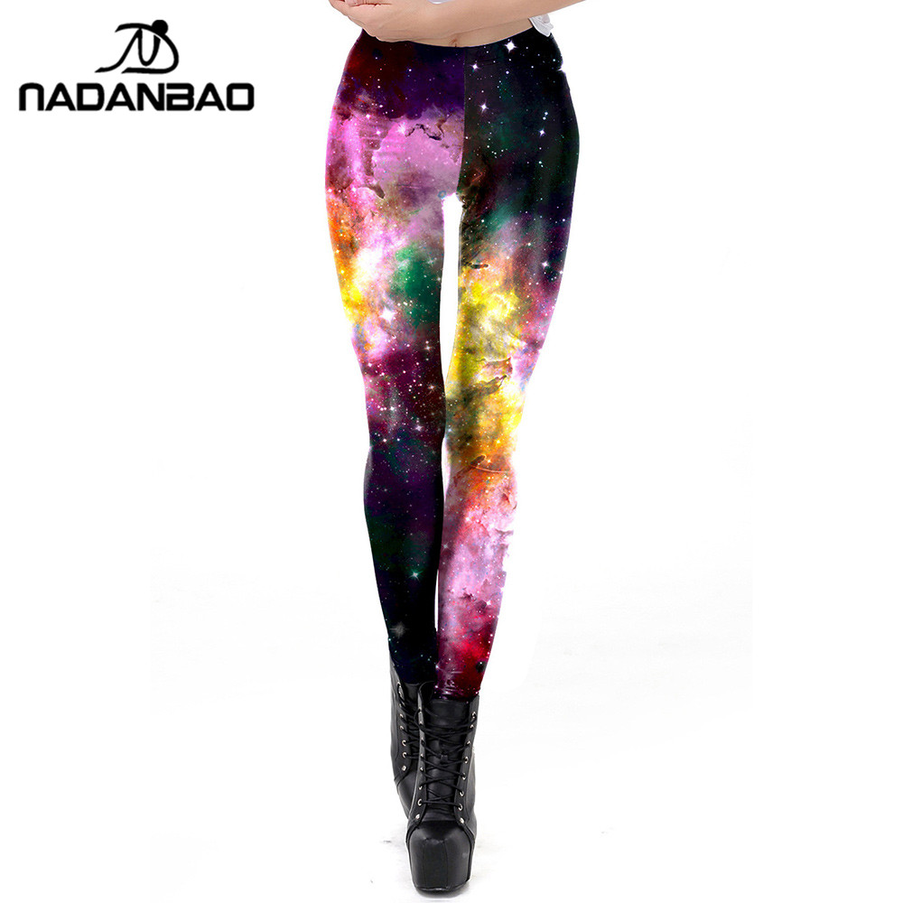 NADANBAO Pink Galaxy Sexy Leggings Women 3D Workout Legging Fitness Skinny Leggins Elasticity Pants Plus Size