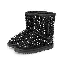 2017 Women's Black Palka Dot Rhinestone Snow Boots Girls Flock Plush Snow Boots For Women Winter Shoes Famous Brand Uglike