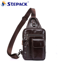 New Arrival Genuine Leather Men Oblique Cross Bag Creative Design Splice Color Casual Sport Crossbody Chest