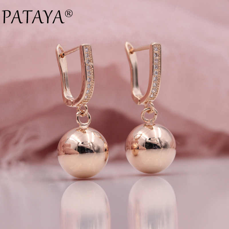 PATAYA Pendatang Baru 585 Rose Gold Bola Micro-lilin Inlay Natural Zircon Dangle Earrings Wanita Perhiasan Pesta Pernikahan Indah