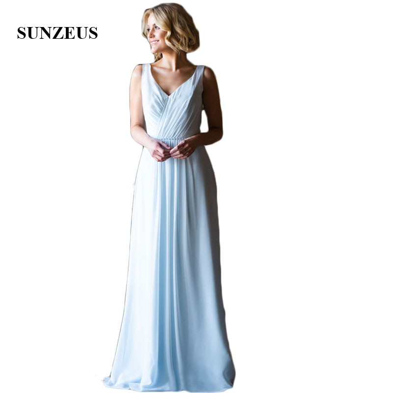Light Blue Chiffon Wedding Guest   Dresses   Sweetheart A-Line   Bridesmaid     Dresses   Long Pleats Beaded Formal   Dresses   Open Back SBD153