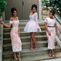 Honey Qiao Bridesmaid Dresses White Lace Pink Satin Sheath Teo Piece Off The Shoulder Sexy Maid of Honor Gowns Cheap Prom Dress