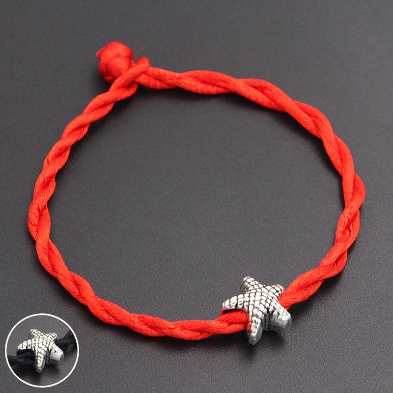 2020 New Cute Starfish Beads 4mm Red Thread String Bracelet Lucky Red Handmade Rope Charm Bracelet for Women Men Jewelry