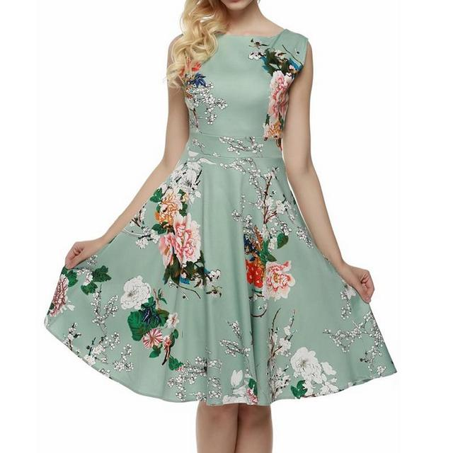 Light green sleeveless Women Dress Retro Vintage 1950s 60s Rockabilly  Floral Swing Summer Dresses Elegant Bow-knot Tunic Vestido 39e23ccf0644