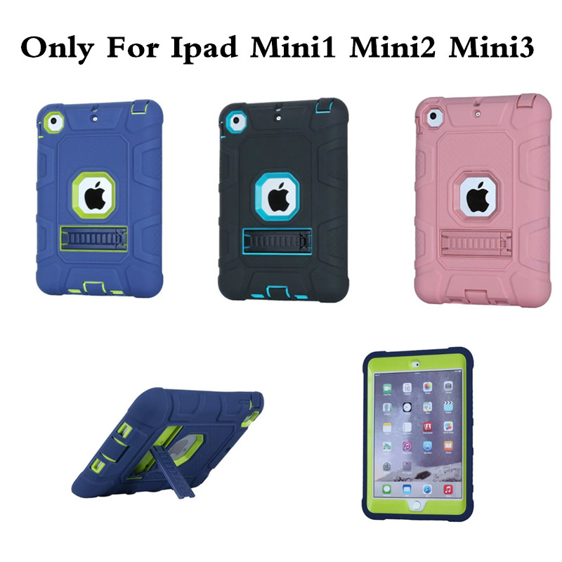 For iPad Mini 1 2 3 Case Silicone PC Hard Shockproof Heavy Duty Armor Kids Safe Protective Stand Cover For Mini2 Mini3 Tablet PC 3 in 1 pc hard case armor w stand for iphone 6 white