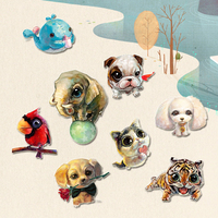 1 PC Painting Animals Series 3 Acrylic Badges Kawaii Icons on The Pin Badges for Clothing Brooch Backpack Badge