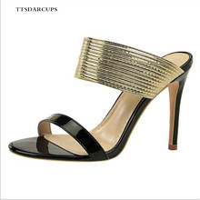 Euro-American fashion retro sexy slim-heeled high-heeled open-toed metal belt with women slippers Plus Size 34-40 Gladiator Pump
