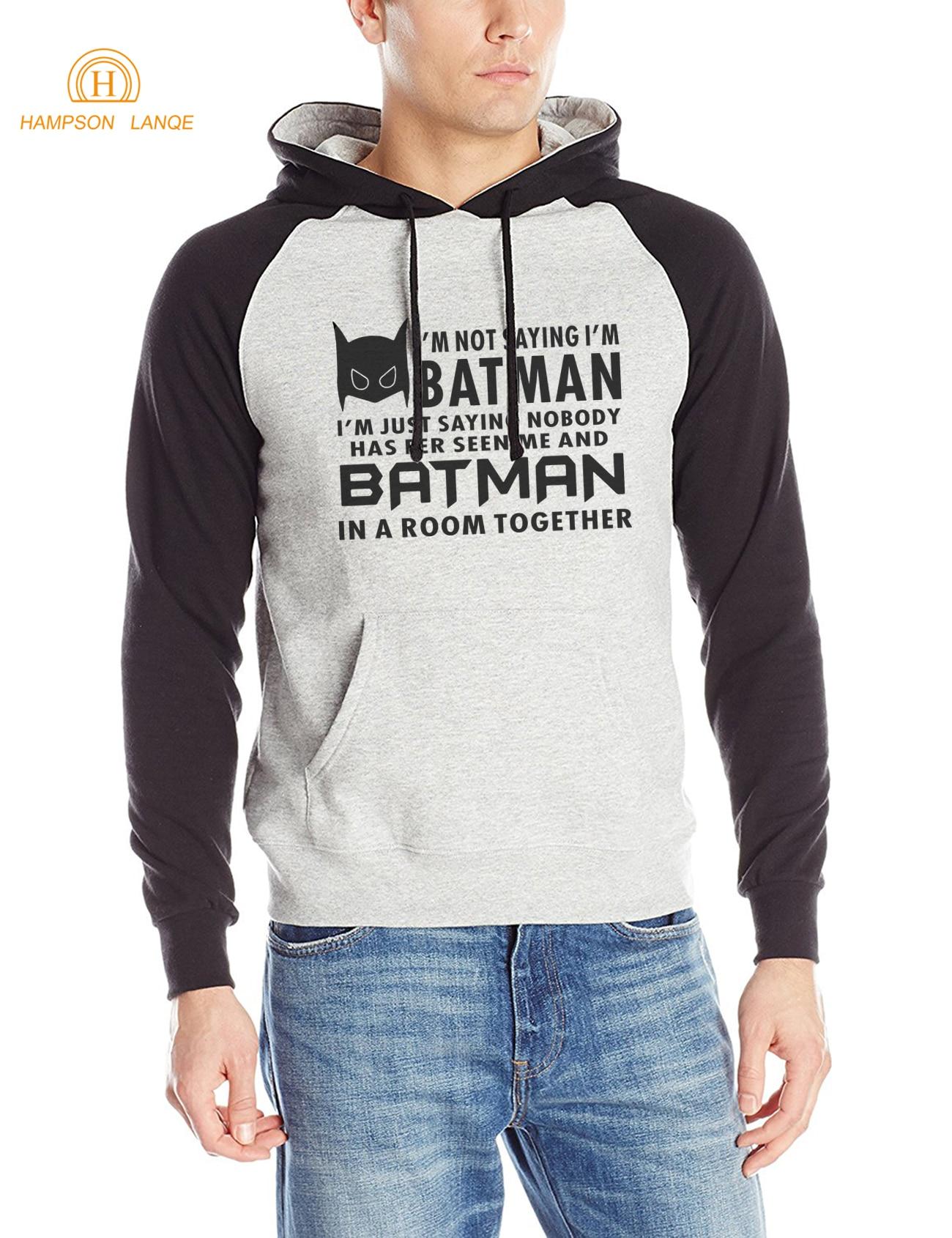 Super Hero I Am Batman Hipster Men Hoodies 2017 Autumn Winter Fleece Sweatshirt Raglan Hooded Slim Fit Tracksuit Movie Hoodie