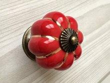 Red Cabinet Knobs Pumpkin Knobs Kitchen Dresser Knob Drawer Pulls Handles  Ceramic Porcelain / Antique Bronze Decorative Hardware