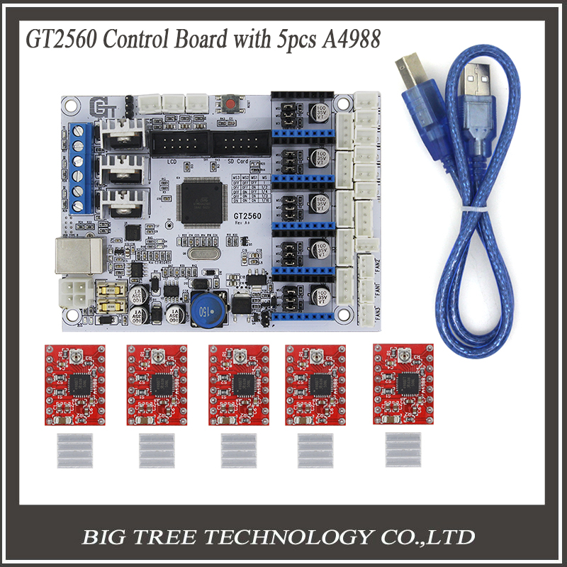 3D Printer Control Board GT2560 Support Dual Extruder Power Than ATmega2560 Ultimaker 5PCS A4988 5PCS Heatsinks
