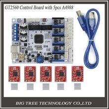 3D Управления Принтером Доска GT2560 Поддержка Dual Экструдер Мощность, Чем ATmega2560 Ultimaker + 5 ШТ. A4988 + 5 ШТ. Радиаторы свободный Корабль