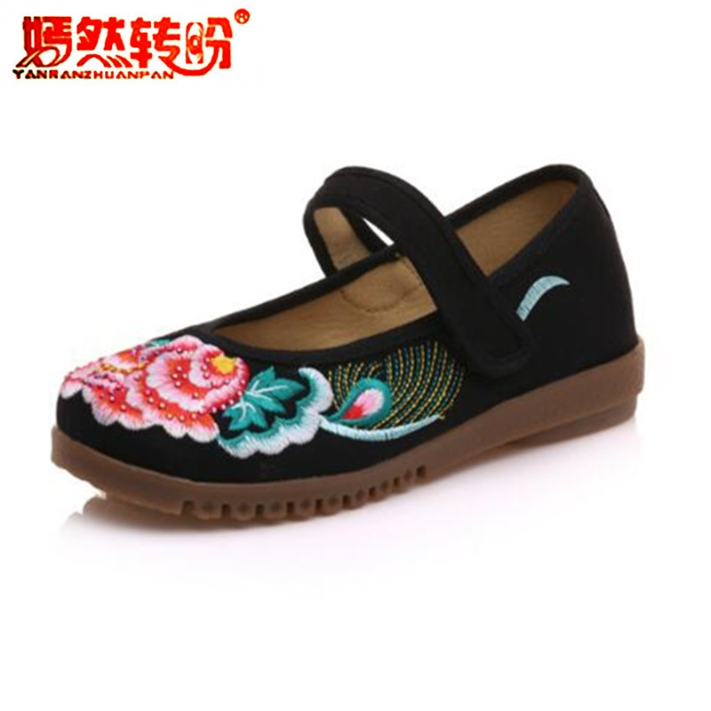 Big Size 34-41 Casual Flats Floral Embroidery Shoes Women Chinese Old Peking Casual Cloth Dancing Shoes Mother Walking Mary Jane peacock embroidery women shoes old peking mary jane flat heel denim flats soft sole women dance casual shoes height increase