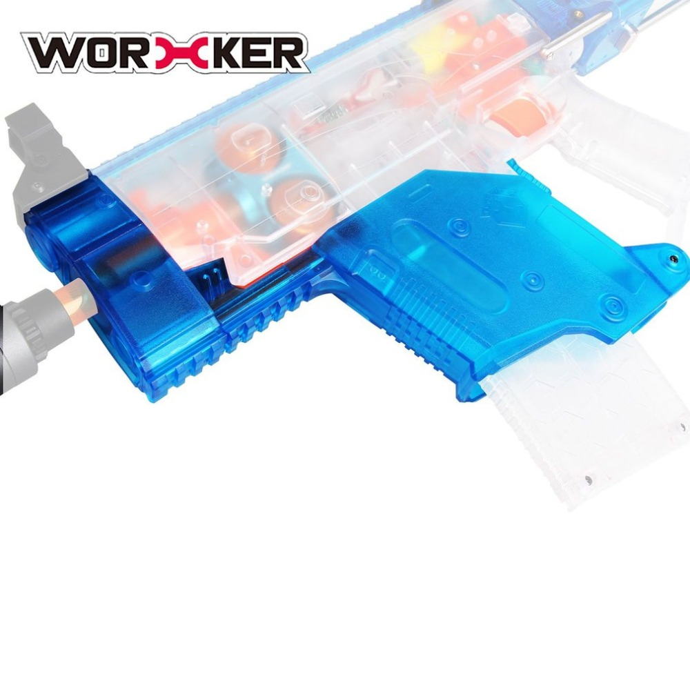 WORKER Modified Short Sword Shaped Cover Transparent Blue Toy Gun Accessories Kit Removable Front Tube for Nerf Stryfe