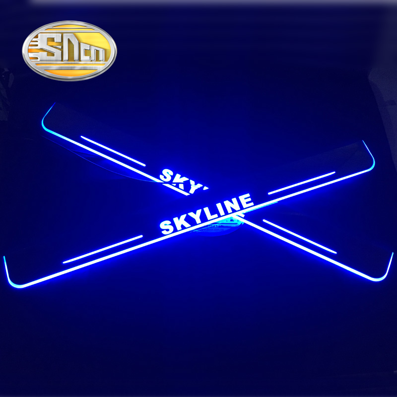 SNCN 2PCS Acrylic Moving LED Welcome Pedal Car Scuff Plate Pedal Door Sill Pathway Light For Nissan Skyline R32 R33 R34