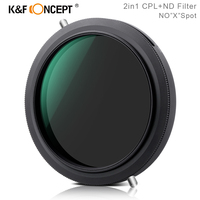 K&F Concept 2in1 ND+CPL Filter NoXspot Fader ND Variable Filter+Circular Polarizing Filter 67mm 72mm 77mm 82mm Camera Lens