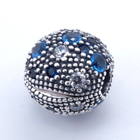 Pandulaso Cósmico Azul Estrellas Encanto Mujer Clip de La Joyería 925 Joyas de plata Pulsera Europea Apta Del Grano Flojo