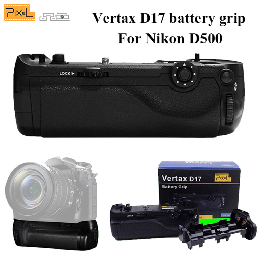 Professional Battery Grip Pixel Vertax D17 for Nikon D500 Compatible with EN-EL15 Battery and AA Battery(Replacement for MB-D17) meike mk d500 professional battery grip for nikon d500 works with en el15 battery and aa battery replacement for nikon mb d17