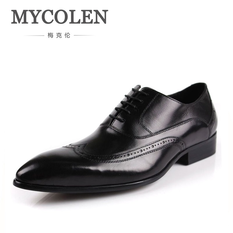MYCOLEN Luxury Brand Man Wedding Shoes Genuine Leather Comfort Breathable Dress Oxfords Pointed Toe Lace-Up Formal Men's mycolen mens shoes round toe dress glossy wedding shoes patent leather luxury brand oxfords shoes black business footwear