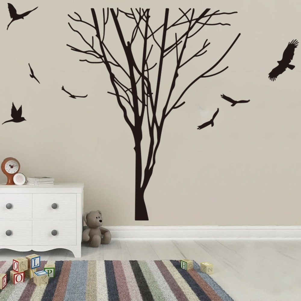 Large Tree Branch Trunk Birds Wall Decal Bedroom Kids Room Forest Nature Tree Trunk Branch Plant Animal Wall Sticker Vinyl Art (3)