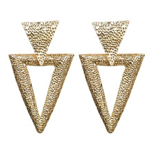 Silver Rose Gold Geometric Triangle Earrings for Women Double Statement Earings Baroque Style Luxury Big Stud
