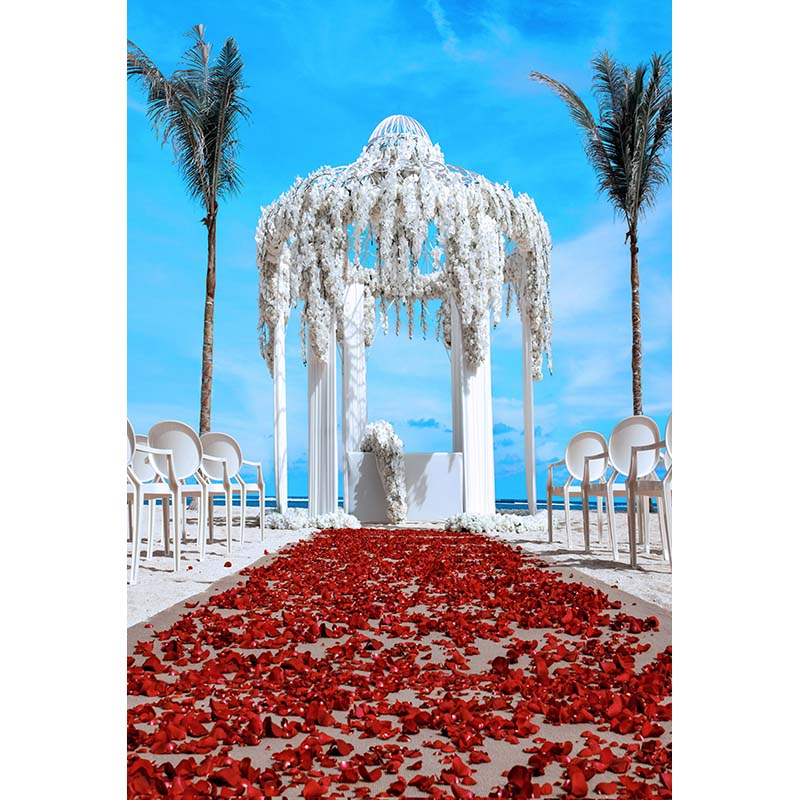 Sea beach outdoor wedding photo background fabric red petals photography backdrops for photo studio photographic backgrounds