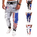 Top Design 2015 Personality Casual Pants Mens Joggers American Flag Star Print Trousers Overalls Sweatpants Hip Hop Harem Pants