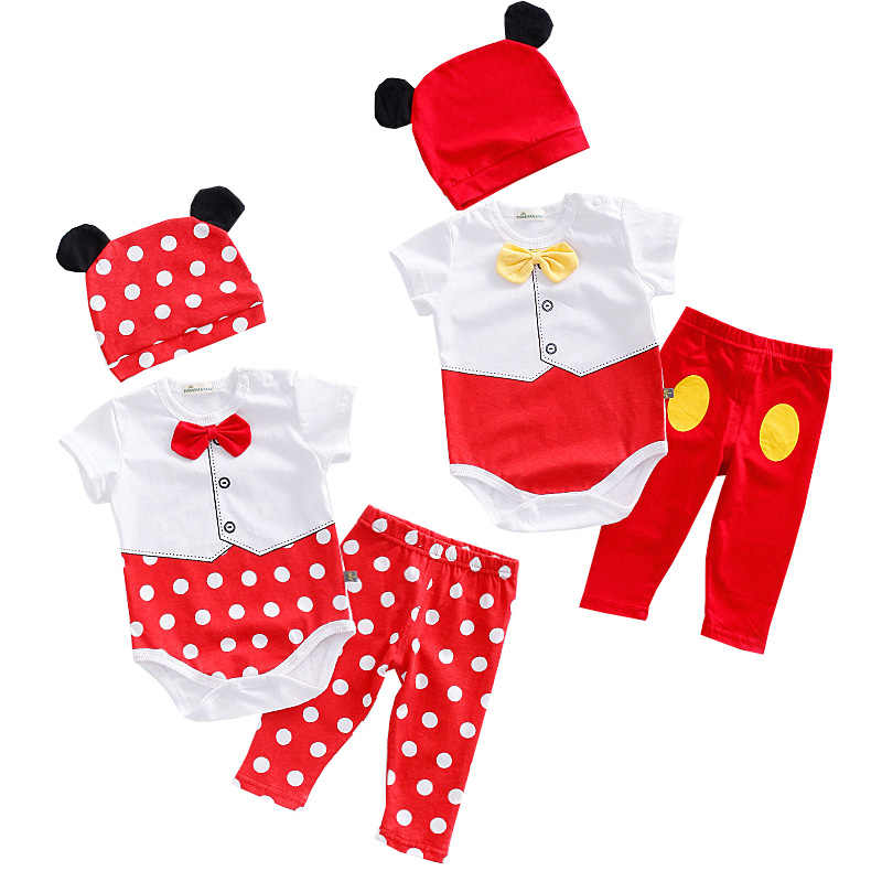 a7246080eae7 New Baby Boys Girls Clothes 3pcs Summer Romper+hat+pants Cartoon Animal  Pattern Baby