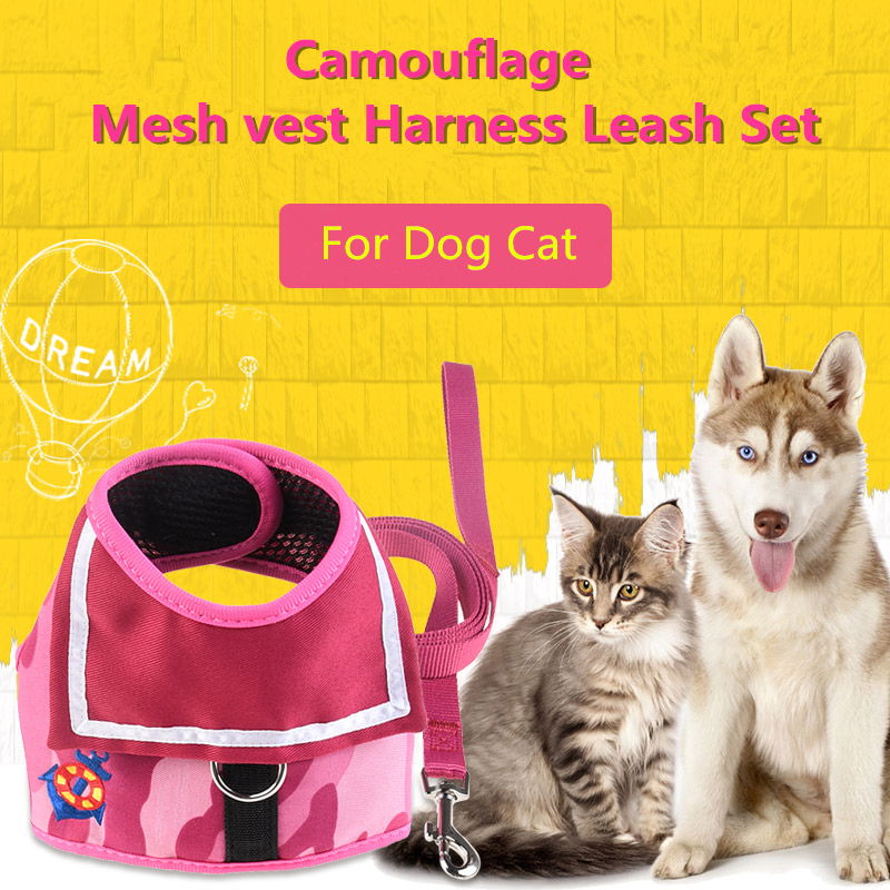 N47 Cute Soft Adjustable Pet Dog Harness Leash Set Mesh Puppy Dog Chest Strap Pet Walking Harness Lead For Chihuahua Teddy