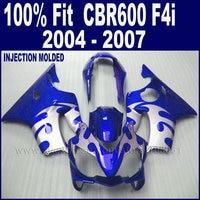Customize Injection molding fairings kit for Honda cbr 600 f4i 04 05 06 07 cbr 600 f4i 2004 2005 2006 2007 blue silver body fair