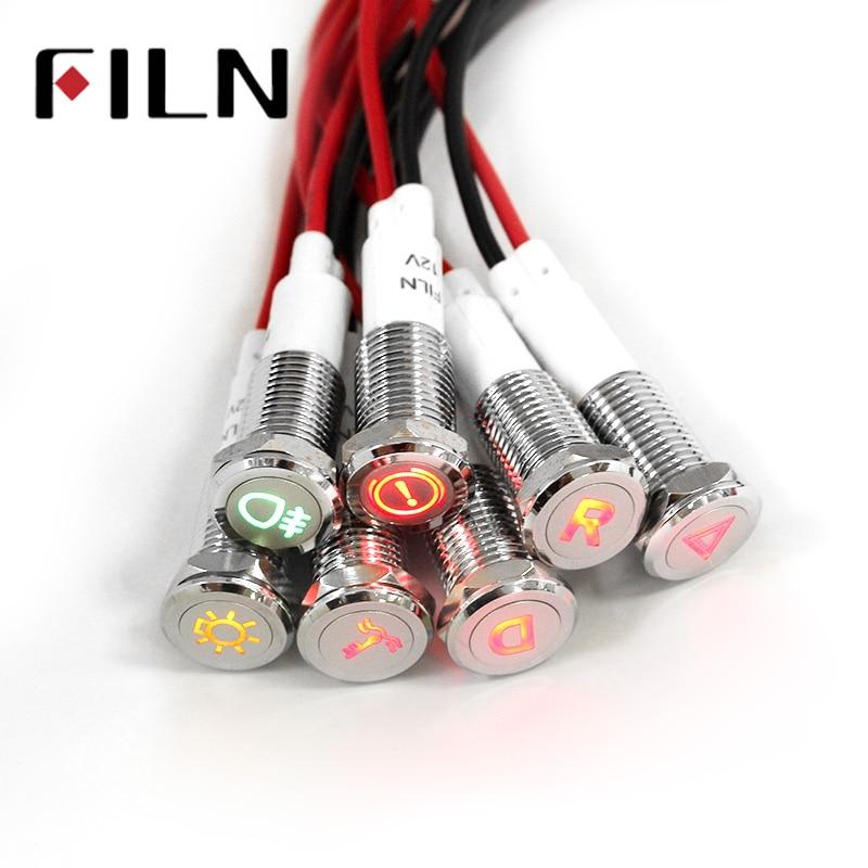 Chrome Waterproof Lamp FILN 12V LED Car Boat LED Warning Dashboard Signal Lights Instrument Pilot light 10mm|Indicator Lights| |  - title=