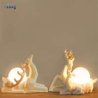 Nordic Resin White Deer Table Lamps Origami Effect Art Deco for Wedding Room Bedroom Warm Bedside Lamp House Decoration Light