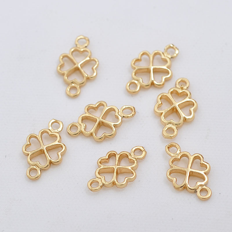 10PCS 7x12MM 24K Champagne Gold Color Plated Brass Lucky Flower Clover Connect Charms High Quality Diy Jewelry Accessories