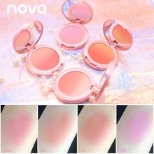 Novo, 4 цвета, палитра румян для лица, макияж, натуральная минеральная пудра, румяна для щек, лица, 3D контур, осветляет, легко носить, текстура румян