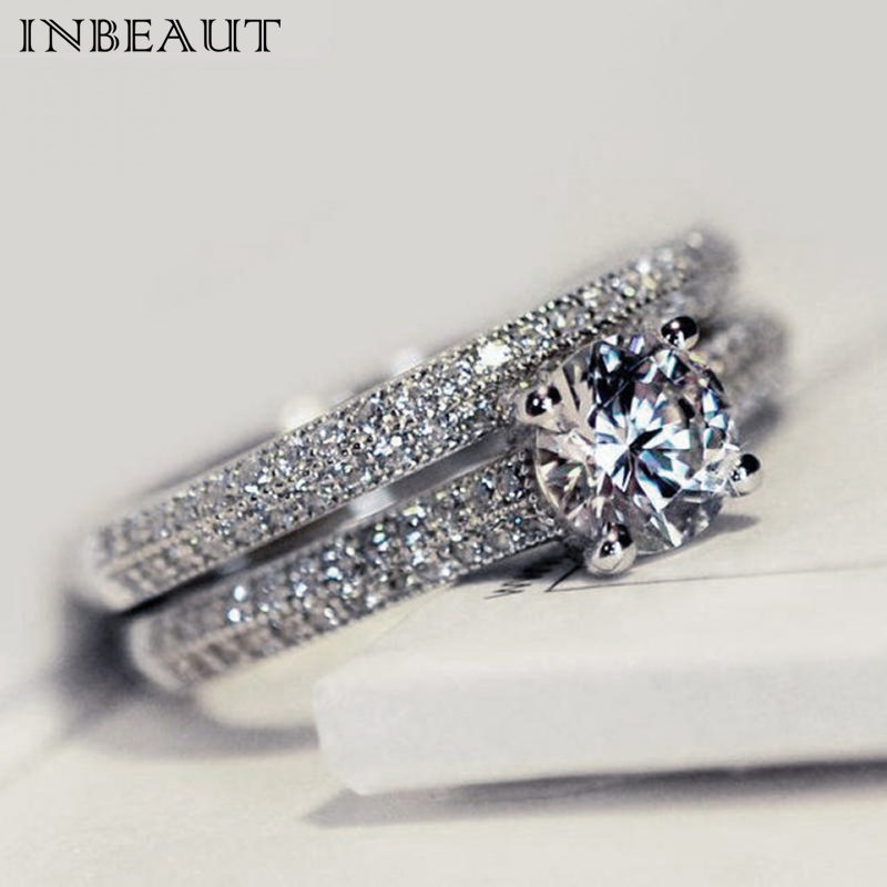INBEAUT Women Wedding Ring Set Sparkling Perfect Round Cut Zircon Stone Rings Female Party Jewelry 2