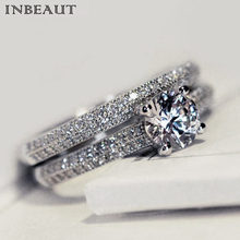 Women Wedding Ring Set Sparkling Perfect Round Cut Zircon Stone Rings