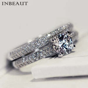 INBEAUT Women Wedding Ring Set Stone Female Jewelry Silver