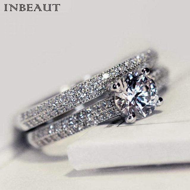 INBEAUT Women Wedding Ring Set Sparkling Perfect Round Cut Zircon Stone Rings Fe