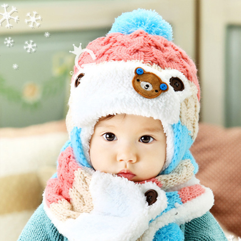 Winter crochet hooded cowl baby hats bear ear cap + scarf for children girls newborn outfits bonnet children clothes accessories