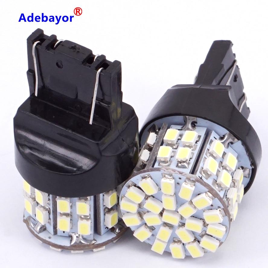 4 X T20 7443 W21/5 Вт лампочки для стоп-сигналов 3020 50 светодиодный 1206 SMD 7440, двойная интенсивность башня задние стоп-сигнал заднего хода лампы белого цвета