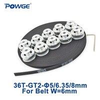 POWGE 10pcs 36 teeth GT2 Timing Pulley Bore 5mm 6.35mm 8mm + 10Meters width 6mm GT2 open Timing Belt 2GT Belt pulley 36T 36Teeth