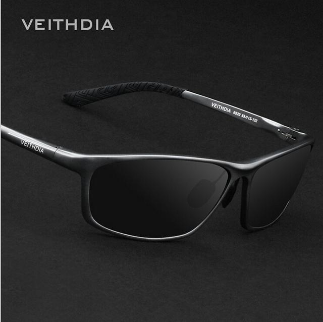 VEITHDIA Óculos Polarizados 6520 dos homens Fahsion Marca Original de Óculos De Sol de Alumínio E Magnésio Carro UV400 Óculos de Proteção