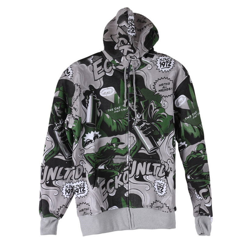 New Trend of mens casual hooded zipper jacket male hip-hop thick section lifelike animation print autumn and winter coat