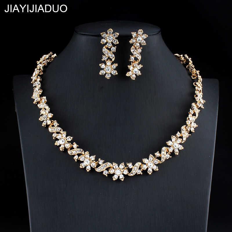b2026d86170d Jiayijiaduo Dubai Color oro collar pendientes para las mujeres joyería de  la boda de cristal accesorios