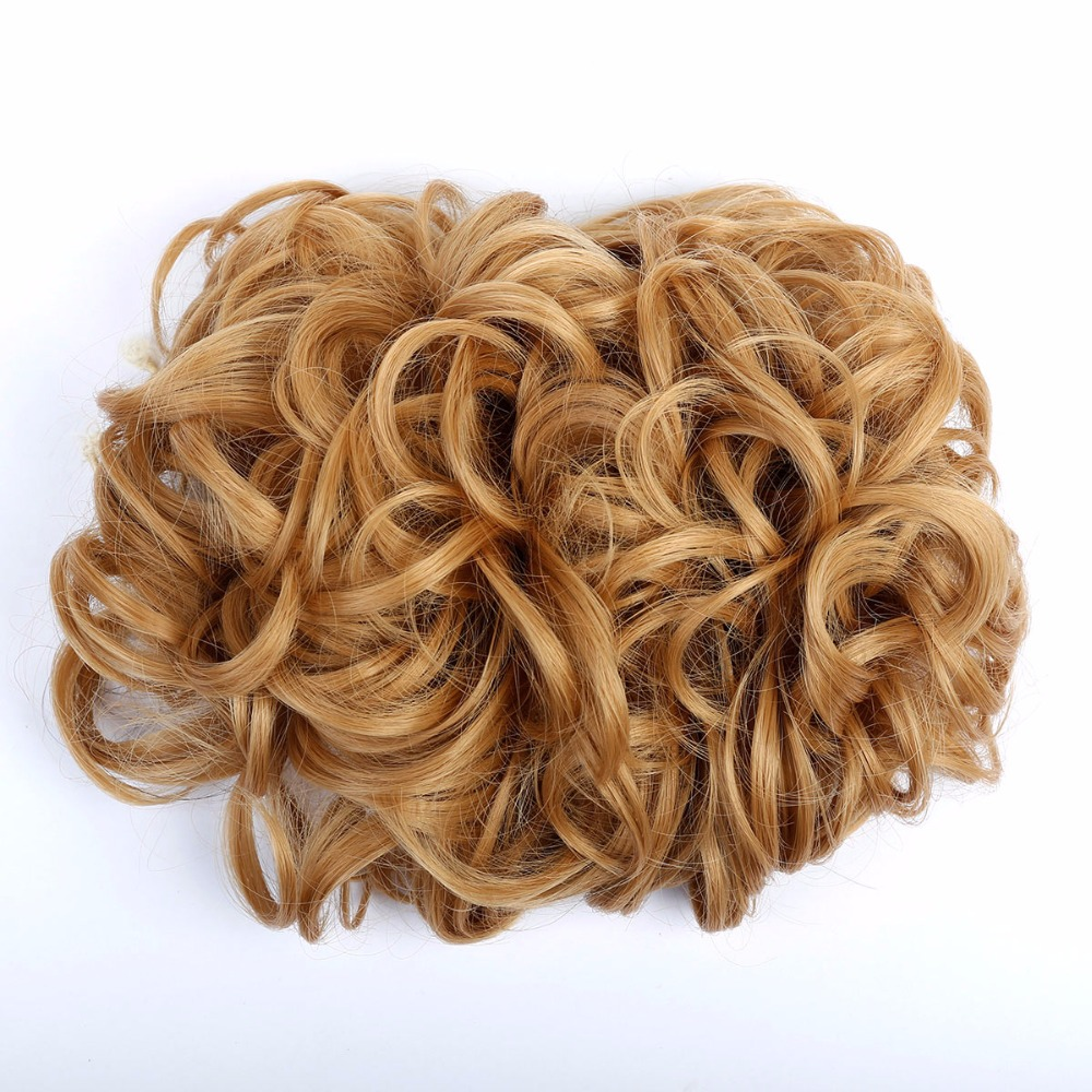 DIFEI Short Curly Chignon Womens Synthetic Hair Bun Black Brown Hair Extension With Chignon Rubber band Combs in Hairpiece