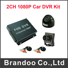 Full HD 2 Channel SD Cards Truck Bus DVR 1080P Mobile DVR Kit Including 1pcs Dome Camera and 1pcs 160 Degree Wide View Camera