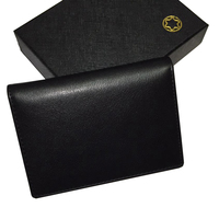 Man M B Leather Black Brand Bank Credit Card Holder Wallet Apparel Sewing Fabric Genuine Leather