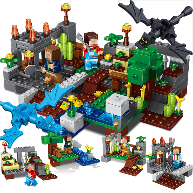 267 stücke 4 in 1 Stadt Gruppe My World Kompatibel Legoed Minecraft Baustein Steve Alex Skeleton Figuren Steine Pädagogisches spielzeug