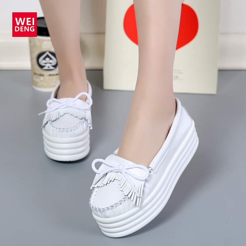 ФОТО Genuine Leather Flat Platform Women Creepers Preppy Style Lace Up Fashion 2017 New Casual Increased Shoes