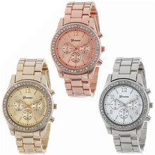 2017 Fashion Dress Watches Women Men Faux Chronograph Quartz Plated Classic Round Crystals Watch relogio masculino Casual Clock